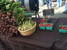 Beets, asparagus, and strawberies, which were going FAST!