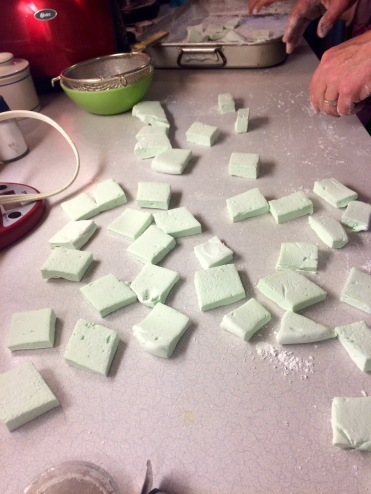 Marshmallows all cut up