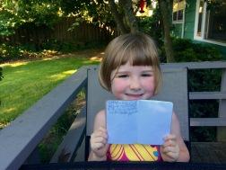 Amelia's proud of her writing.
